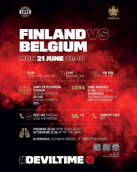 Photo by Belgian Red Devils in Saint Petersburg Stadium. May be an image of text that says '1895 EURO2020 FINLAND VS BELGIUM MON 21 JUNE 21:00 22:00 TIME (GTM +3) 21:00 BELGIAN TIME 100 RUB SAINT-PETERSBOURG STADIUM CAPACITY: 68. 68.000 CORONA CAPACITY: 50% 1895 FANS AMBASSY 21.06:14:00-20:00 ALPENHAUS YUZHNAYA DOROGA, 17 SINT-PETERSBURG RED LINE 24H/24H 0032 478 1895 112 COUNTRY CODE 007 PREDRINK 20.06 FROM 20:00-00:00 AFTERDRINK 21.06 AFTER THE GAME ALPENHAUS: YUZHNAYA DOROGA, 17 SINT-PETERSBURG OEK #DEVILTIME'.