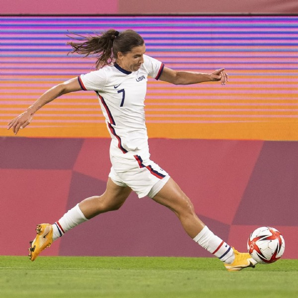 Photo by Tobin Heath Argentina  on July 29, 2021. May be an image of 1 person and playing a sport.