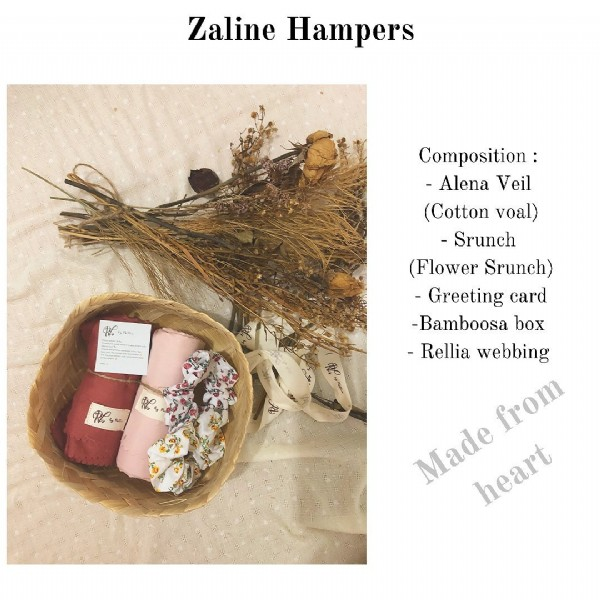 Photo by Rellia on July 27, 2021. May be an image of flower and text that says 'Zaline Hampers RLs Composition: -Alena -Ale Veil (Cotton voal) Srunch (Flower Srunch) -Greeting card -Bamboosa box -Rellia webbing from Made heart heart RLs'.