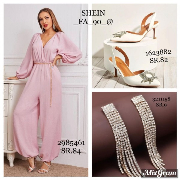 Photo shared by تنسيقات زيزو  on August 02, 2021 tagging @namshi, @fashiongirls91, @sheinofficial, @shopsivvi, @tanseg_r_a, @l6of272, @shein_ar, @abeer.shopping1, @lo19u, @hanadi.alabdullah, @liil107, and @ua5ri. May be an image of 1 person, footwear, jewelry and text that says 'SHEIN _FA_90_@ 1623882 SR.82 2985461 SR.84 MixGram'.