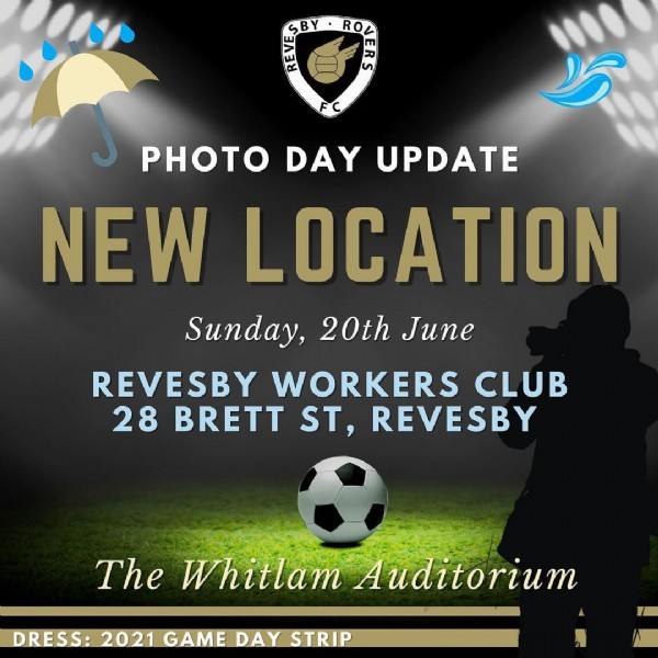 Photo by ℝ ℝ  ℂ in Amour Park. May be an image of text that says 'PHOTO DAY UPDATE NEW LOCATION Sunday, 20th June REVESBY WORKERS CLUB 28 BRETT ST, REVESBY The Whitlam Auditorium DRESS: 2021 GAME DAY STRIP'.