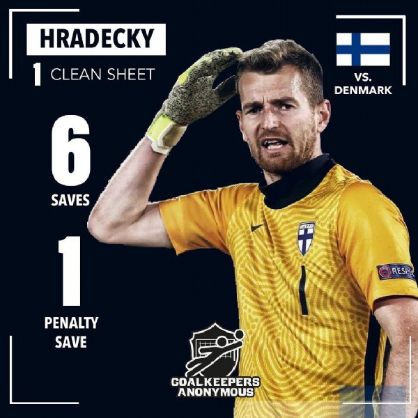 Photo shared by Goalkeepers Anonymous on June 13, 2021 tagging @footballers.anonymous. May be an image of 1 person and text that says 'HRADECKY CLEAN SHEET vs. DENMARK 6 SAVES 1 PENALTY SAVE RESPES GOALKEEPERS GOAL ANONY MOUS'.