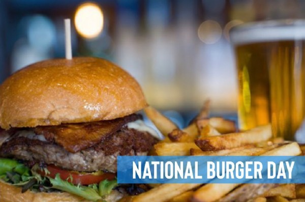 Photo by Nona Social Bar & Kitchen on May 28, 2021. May be an image of french fries, burger and text that says 'NATIONAL BURGER DAY'.