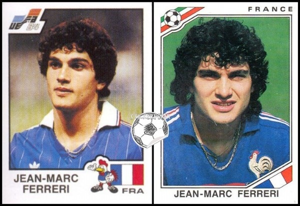 Photo by Stickerpedia on June 13, 2021. May be an image of 2 people, people playing football and text that says '84 FRANCE JEAN- MARC FERRERI FRA JEAN-MARC FERRERI'.