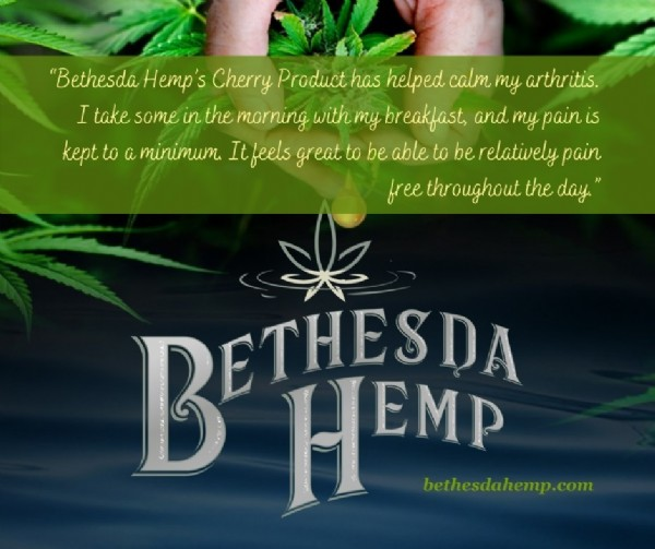 """Photo by Bethesda Hemp on August 03, 2021. May be an image of text that says '""""Bethesda Hemp's Cherry Product has helped calm my arthritis. I take some un the morning with my breakfast, and my pain kept to a minimum. Itfeels greatto be able to be relatively pain freethroughut the day."""" B JEMP bethesdahemp.com'."""