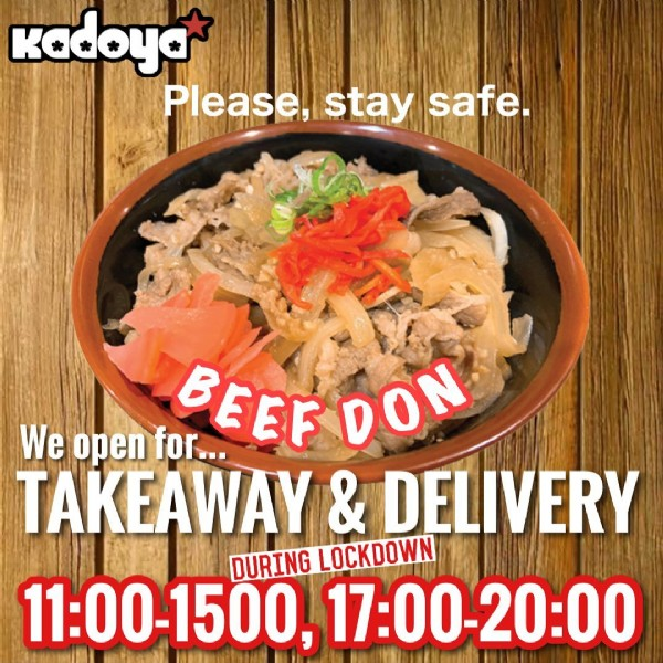 Photo by Kadoya_Brisbane on August 02, 2021. May be an image of food and text that says 'kadoya Please, stay safe. We open for.. BEEF DON TAKEAWAY & DELIVERY DURING LOCKDOWN 11:00-1500, 17:00-20:00'.