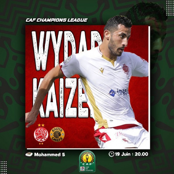 Photo by WYDAD ONLINE (From ) in Grand Casablanca with @elhassouniayman20, and @19x37. May be an image of 1 person and text that says 'CAF CHAMPIONS LEAGUE WYDAF 1 יי KAIZER Mohammed 5 19 Juin 20.00 CAF'.