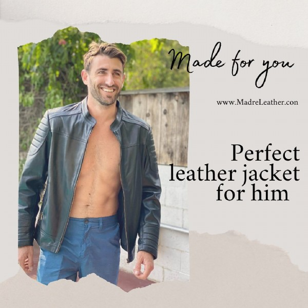 Photo by Madre Leather on September 21, 2021. May be an image of 1 person, standing and text that says 'ade for you www.MadreLeather.con Perfect leather jacket for him'.