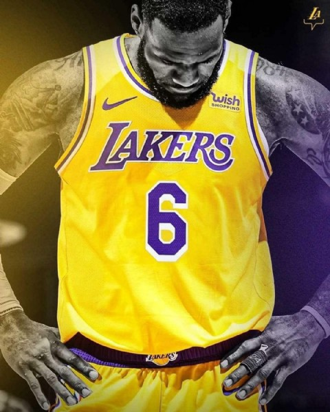 Photo by Los Lakers Fans on June 14, 2021. May be an image of basketball jersey and text that says 'wish HORD LAKERS 6 LAKERS S'.