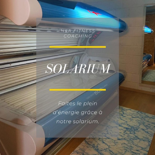Photo by N&A Fitness Coaching in Sion, Switzerland. May be an image of indoor and text that says 'N&A FITNESS COACHING SOLARIUM SOLA Faites le plein d'énergie d'énergiegrace grâce notre solarium.'.