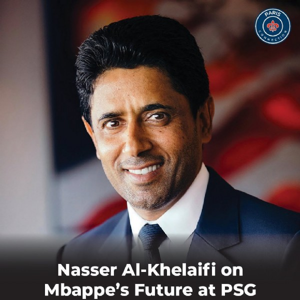Photo by Paris Connection - PSG on June 10, 2021. May be an image of 1 person and text that says 'PARIS COMMECTION Nasser Al-Khelaifi on Mbappe's Future at PSG'.