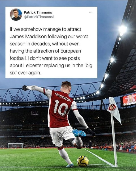 Photo by sportsdaily on June 19, 2021. May be an image of 1 person and text that says 'Patrick Timmons @PatrickTimmons1 If we somehow manage to attract James Maddison following our worst season in decades, without even having the attraction of European football,I don't want to see posts about Leicester replacing us in the 'big six' ever again. MADDISON 10'.