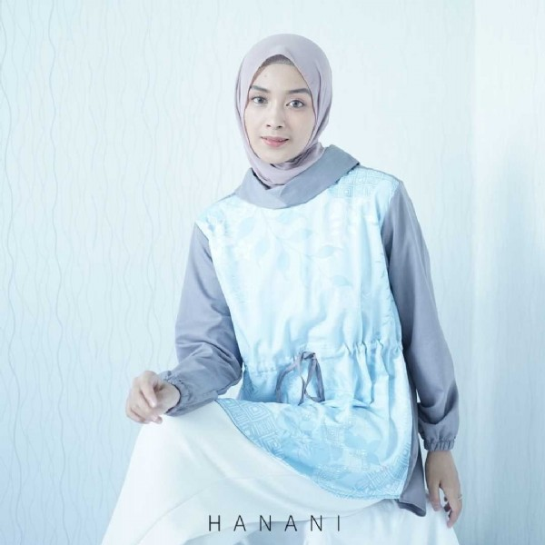 Photo by HANANI Fashion | localbrand on August 01, 2021. May be a closeup of 1 person, standing, headscarf and text that says 'HANANI'.