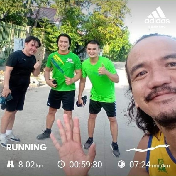 Photo by Juanito Enrile Capalad on June 16, 2021. May be an image of 4 people, people standing, outdoors and text that says 'adidas RUNNING 2다 RUNNING A 8.02 km 00:59:30 07:24 min/km'.