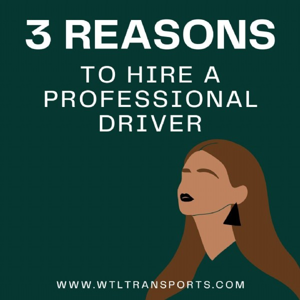 Photo by WTL Transportation Service on June 14, 2021. May be an image of one or more people and text that says '3 REASONS TO HIRE A PROFESSIONAL DRIVER WWW.WTLTRANSPORTS.COM'.