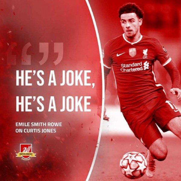 """Photo shared by Anfield Newz™ on June 19, 2021 tagging @emilesmithrowe, @curtisjr, and @anfieldnewz. May be an image of 1 person and text that says 'Standard Chardard Chartered """" HE'S A JOKE, HE'S A JOKE EMILE SMITH ROWE ON CURTIS JONES ANFIELDNEWZ 有音會香章'."""
