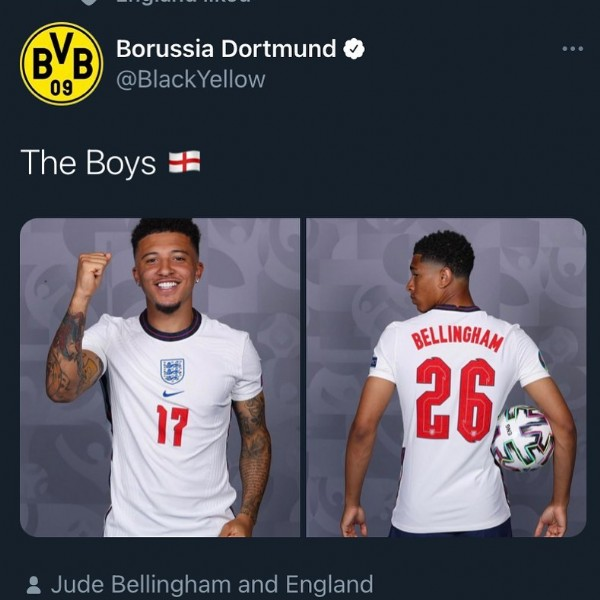 Photo by Pm your england content on June 19, 2021. May be an image of 2 people and text that says 'BVB Borussia Dortmund 09 @BlackYellow The Boys 17 BELLINGHAM 26 Jude Bellingham and England'.