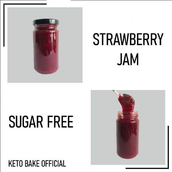 Photo by KetoBake in Shah Alam, Malaysia. May be an image of drink and text that says 'STRAWBERRY JAM SUGAR FREE KETO BAKE OFFICIAL'.