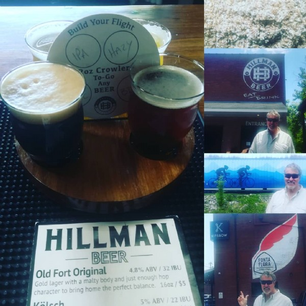 Photo by ❤️ Western North Carolina ❤️ in Hillman Beer - Old Fort with @kitsbow, @hillmanbeeroldfort, @welovemcdowellcounty.nc, @oldfort.nc, and @fontaflorastatetrail. May be an image of 3 people, drink and text that says 'Build Your Û Flight CORILENIN BEER K KITSBOW HILLMAN BEER Old Fort Original 4.8% ABV 32 BU Gold lager with malty body and just enough hop character to bring home the perfect balance. 16oz/ $5 Välsch FLORA STAYE-TRAIL ABV 22 IBU'.