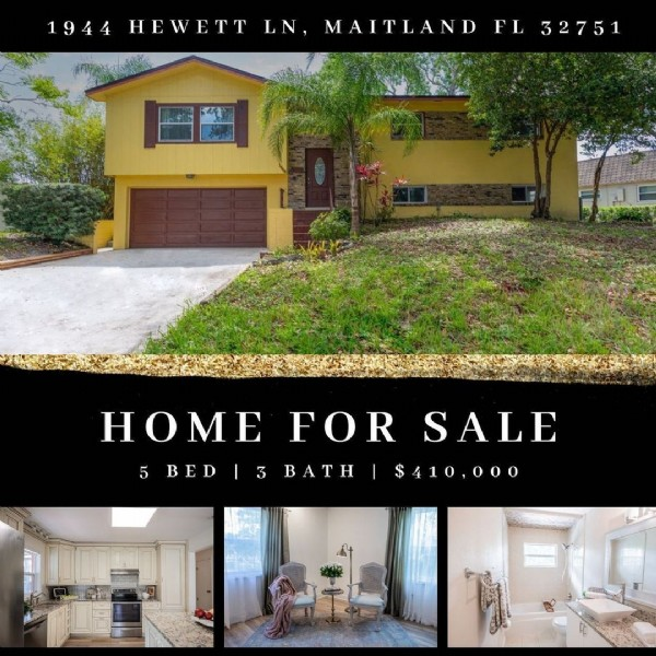 Photo by Real Estate with Irina Paul in Maitland, Florida with @evelina_rudenko, and @homesbyzeljka. May be an image of text that says '1944 HEWETT LN, MAITLAND FL 32751 BED 3 HOME FOR SALE $410,000 BATH'.