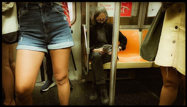 Photo by Charlotte Dupré Photography in Manhattan, New York. May be an image of 1 person, sitting, train and indoor.