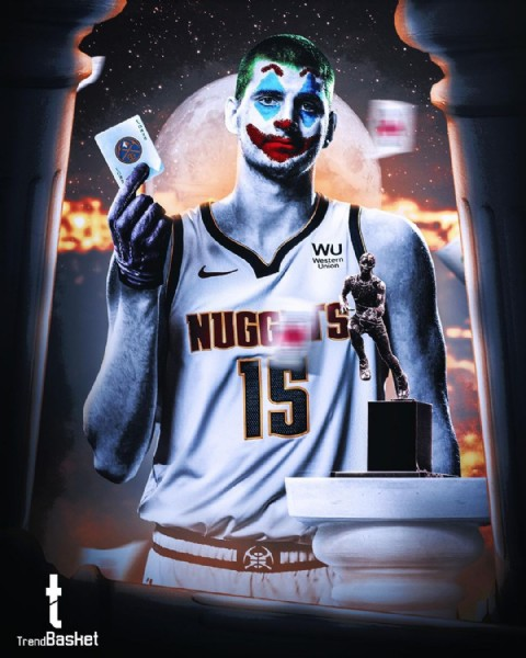 Photo shared by TrendBasket on June 09, 2021 tagging @nuggets, and @nba. May be an image of 1 person and text that says 'JOKSE WU Western Union NUGG 15 t TrendBasket'.