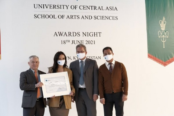 Photo by University of Central Asia on June 19, 2021. May be an image of 3 people, people standing, suit and text that says 'UNIVERSITY OF CENTRAL ASIA SCHOOL OF ARTS AND SCIENCES AWARDS NIGHT 18TH JUNE 2021 N, N,KY ZSTAN က'.
