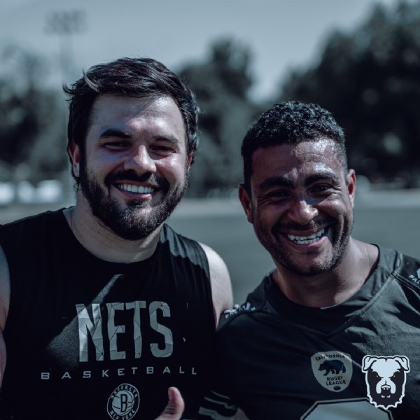 Photo by LA Mongrel in Sherman Oaks Park with @o_jolly_me, @my_endeavor_, @hojoonkimimages, @california_rl, @californiayouthrugbyleague, @eaglerockrugby37, and @younggunscc. May be an image of 2 people, beard, people standing, outdoors and text that says 'NETS'.