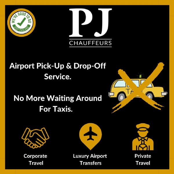 Photo by PJ Chauffeurs - Liverpool on June 14, 2021. May be an image of text that says 'IRECOOODR GO GOOD TOP VISITENGLAND PJ CHAUFFEURS Airport Pick-Up & Drop-Off Service. No More Waiting Around For Taxis. Corporate Travel Luxury Airport Transfers Private Travel'.