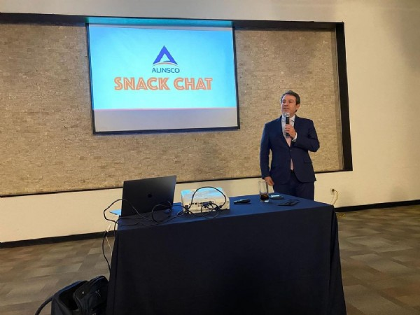 Photo by Alinsco Insurance on June 17, 2021. May be an image of 1 person, standing and text that says 'A ALINSCO SNACK CHAT'.
