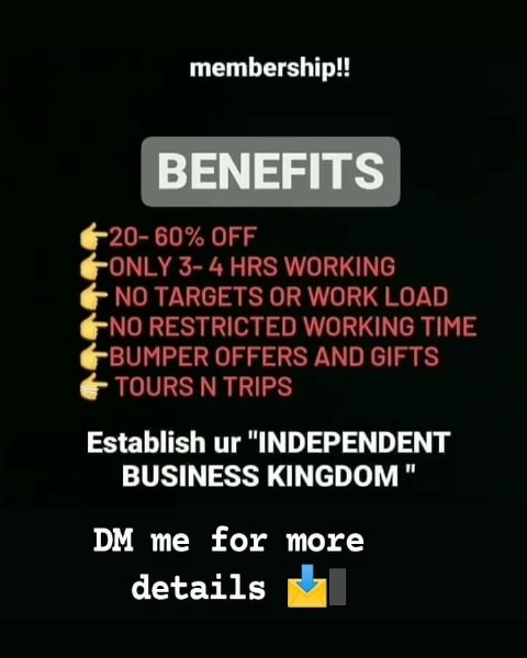 """Photo shared by oriflame_gorgeous on August 01, 2021 tagging @dreamchasers._official. May be an image of text that says 'membership!! BENEFITS OFF -ONLY 3-4 3- HRS WORKING NO TARGETS OR WORK LOAD -NO RESTRICTED WORKING TIME BUMPER OFFERS AND GIFTS TOURS N TRIPS Establish ur """"INDEPENDENT BUSINESS KINGDOM"""" DM me for details more'."""