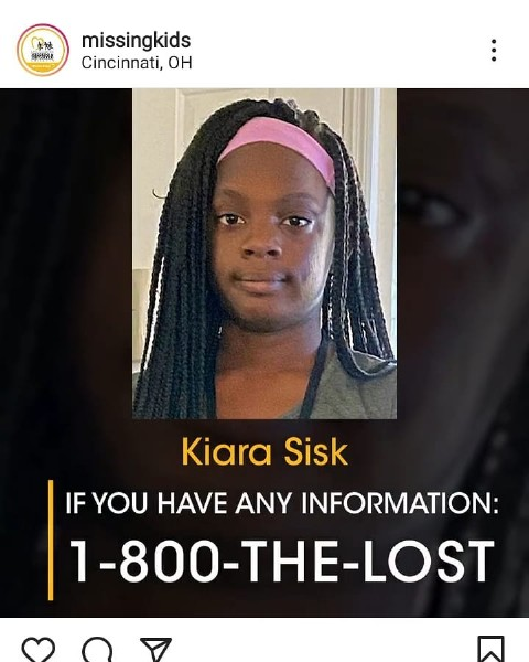 Photo by syko_veggies in Cincinnati, OH. May be an image of 1 person, braids and text that says '早族 BCrD missingkids Cincinnati, oH Kiara Sisk IF YOU HAVE ANY INFORMATION: 1-800-THE-LOST'.