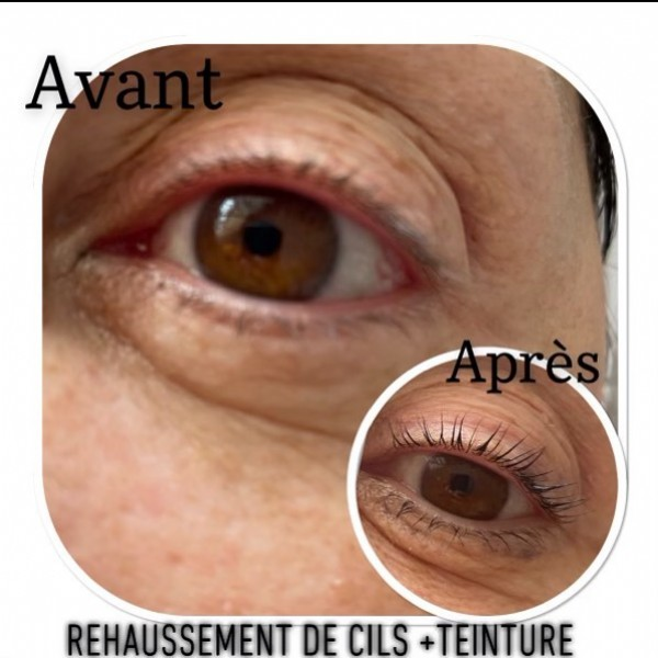 Photo by Marie-anne Grogielli on June 20, 2021. May be a closeup of one or more people and text that says 'Αν REHAUSSEMENT DE CILS +TEINTURE'.