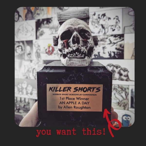 Photo by OPPRIME.tv on June 22, 2021. May be an image of text that says 'KILLER SHORTS HORROR KILLERSHORT SHORT SCREENPLAY COMPETITION 1st Place Winner AN APPLE DAY by Allen Roughton you want this!'.