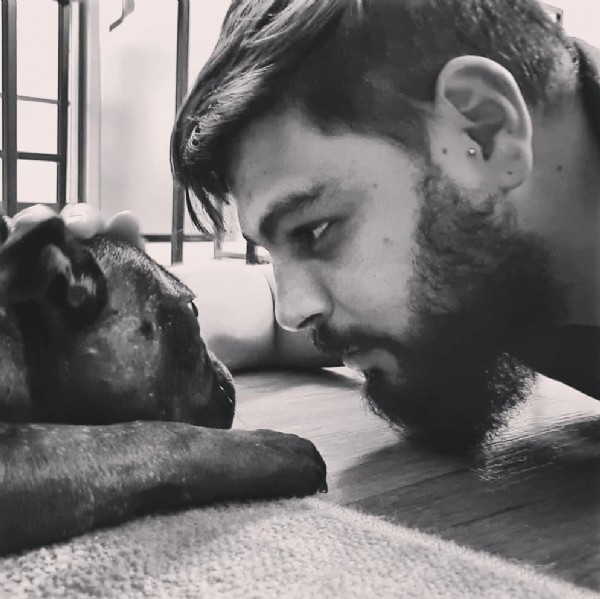 Photo shared by Gamora on June 05, 2021 tagging @bruno.barney. May be an image of 1 person, beard, dog and indoor.