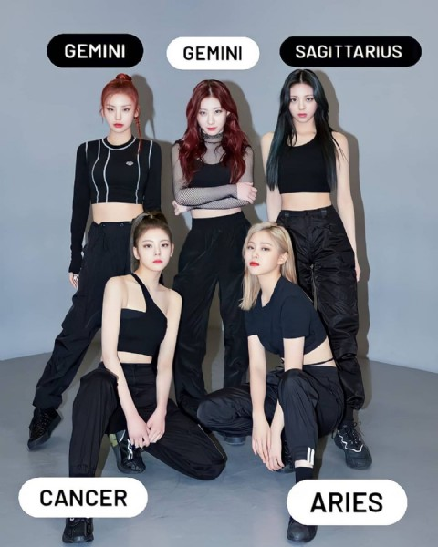 Photo shared by ɪᴛᴢʏ ғᴀɴ ᴘᴀɢᴇ  on June 05, 2021 tagging @itzy.all.in.us. May be an image of 6 people, people standing and text that says 'GEMINI GEMINI SAGITTARIUS CANCER ARIES'.