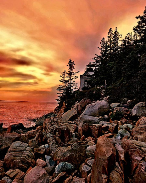 Photo by Nisa in Bass Harbor Light, Acadia National Park. May be an image of twilight, sky, tree and nature.