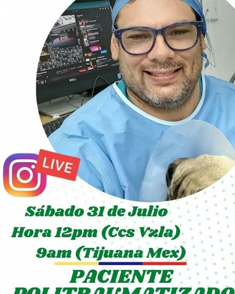 Photo shared by Noti Teckel on July 28, 2021 tagging @mvgabrielromero, @notitrigalvzla, and @caraboboesnoticias. May be an image of 1 person, eyeglasses and text that says 'DeL LIVE Sábado 31 de Julio Hora 12pm (Ccs vzla) 9am (Tijuana Mex) PACIENTE D'.