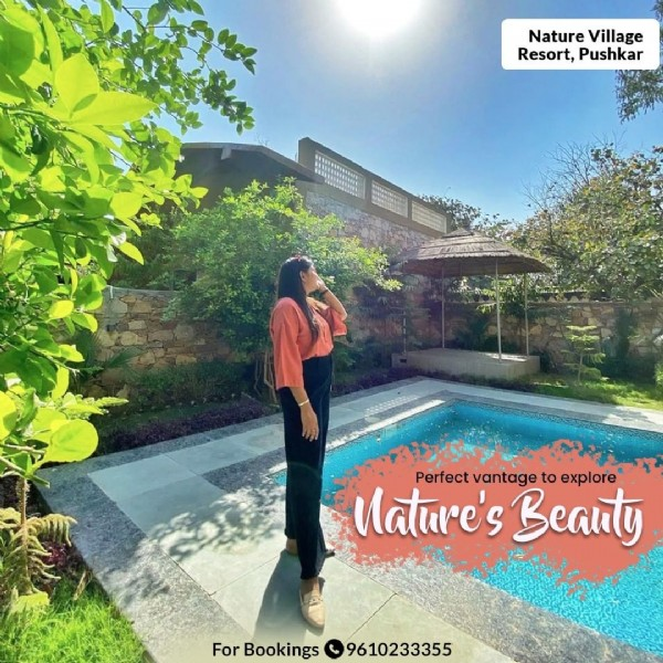 Photo shared by Nature village Resort on March 13, 2021 tagging @akshyadigitaldiaries, and @expandhotelsjaipur. May be an image of standing, outdoors, tree and text that says 'Nature Village Resort, Pushkar ত トオ Perfect vantage to explore Nature's Beauty For Bookings 9610233355'.