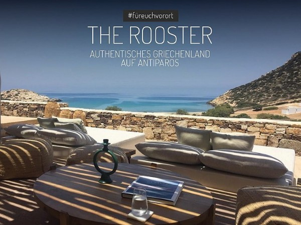 Photo shared by JOURNEY D.LUXE - Luxusreisen on June 13, 2021 tagging @therooster.antiparos. May be an image of outdoors and text that says '#füreuchvorort THE ROOSTER AUTHENTISCHES GRIECHENLAND AUF ANTIPAROS'.