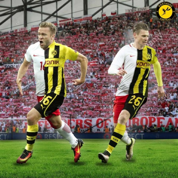 Photo shared by Dortmund Central on June 15, 2021 tagging @lukaszpiszczek_lp26, and @kuba.blaszczykowski. May be an image of 2 people and people playing sports.