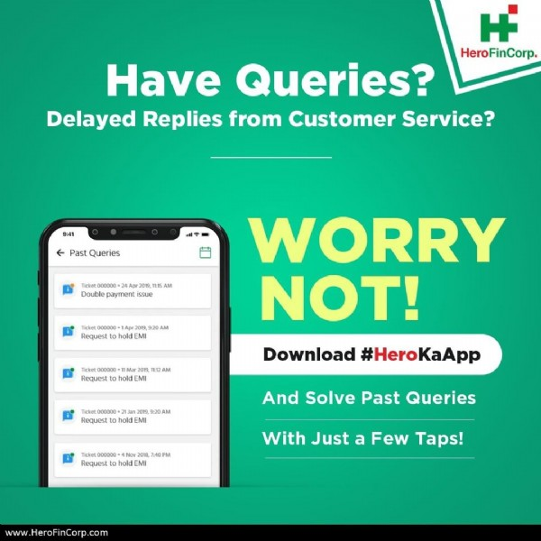 Photo by Hero FinCorp on July 13, 2020. May be an image of text that says 'H HeroFinCorp. Have Queries? Delayed Replies from Customer Service? stQueries WORRY NOT! Download #HeroKaApp #Hero And Solve Past Queries With Just a Few Taps! www.HeroFinCorp.com'.