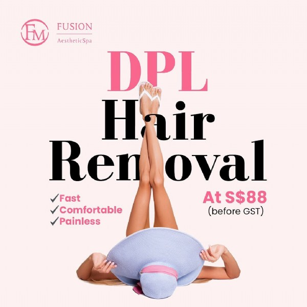 Photo by Fusion AestheticSpa @ Wheelock on August 02, 2021. May be an image of one or more people and text that says 'FUSION AestheticSpa DPL Hair Ren oval ✓Fast AtS$88 ✓Comfortable (before GST) ✓Painless'.