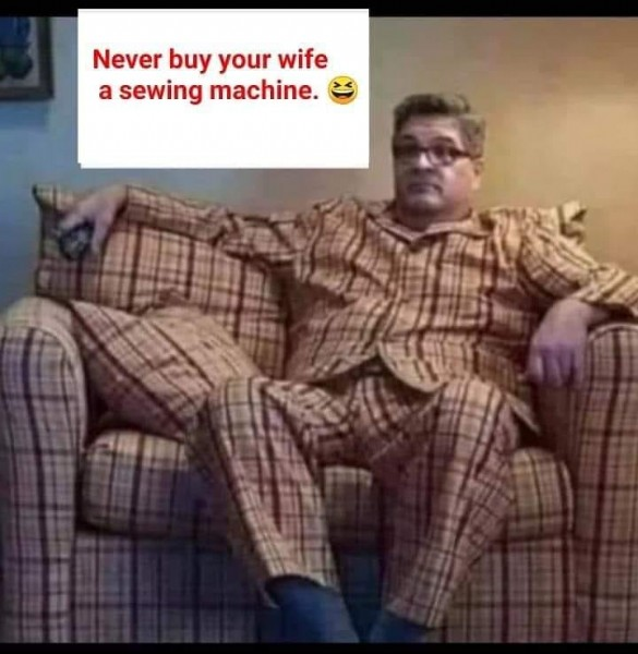 Photo by Naliza Fahro-Rozi in Kuala Lumpur, Malaysia. May be an image of 1 person and text that says 'Never buy your wife a sewing machine.'.