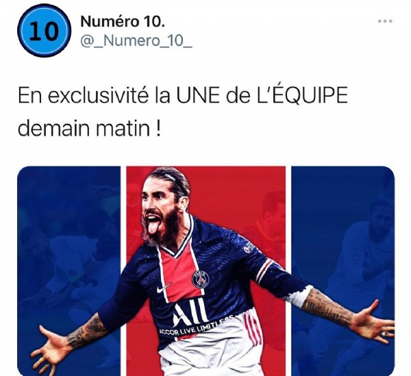 Photo shared by Numéro 10. on June 16, 2021 tagging @psg, @sergioramos, and @__numero__10. May be an image of 2 people and text that says '10 Numéro 10. @_Numero_10_ En exclusivité la UNE de L'ÉQUIPE demain matin! All LIMITI ACCOR LIVE'.