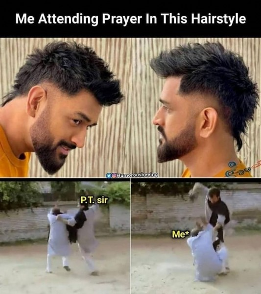 Photo by MEME HUB™  on July 31, 2021. May be a meme of 2 people, beard and text that says 'Me Attending Prayer In This Hairstyle Humorousbeeing eeing P.T. sir Me*'.