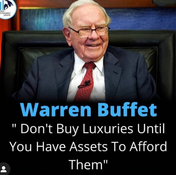 """Photo by India Stock View on July 31, 2021. May be an image of 1 person and text that says 'KMARKET UPDATE Warren Buffet Don't Buy Luxuries Until You Have Assets Το Afford Them""""'."""