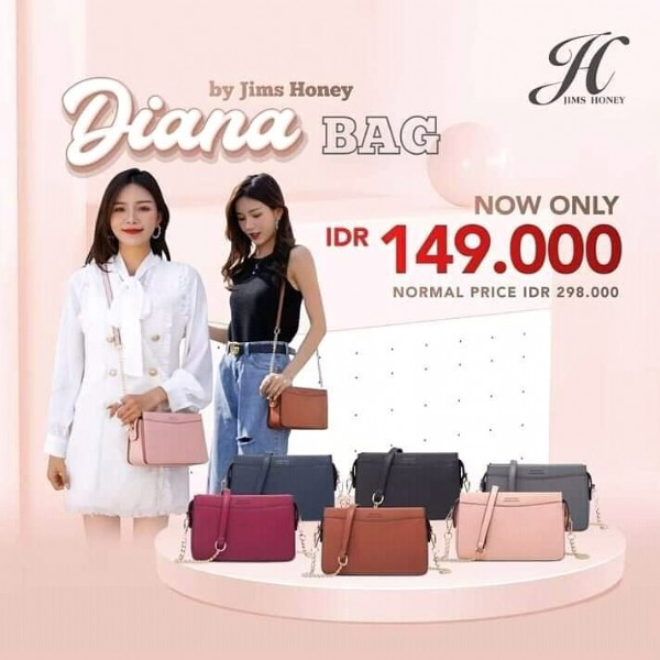 Photo by original product JIMSHONEY on July 31, 2021. May be an image of 2 people, purse and text that says 'Diana Honey by Jims BAG HC JIMS HONEY NOW ONLY IDR 149.000 NORMAL PRICE IDR 298.000'.