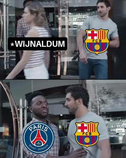 Photo by F O O T B a L L   M E M E S in Paris, France. May be an image of 4 people and text that says 'WIJNALDUM + FCB PARIS FCB SAINT GERMAIN In'.
