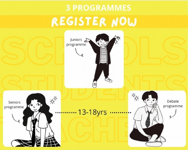 Photo by School Mock Court Case Project on June 14, 2021. May be a cartoon of one or more people and text that says '3 PROGRAMMES REGISTER NOW SCI Juniors programme OLS STI VTC Seniors programme Debate programme 13-18yrs CHI ...........'.